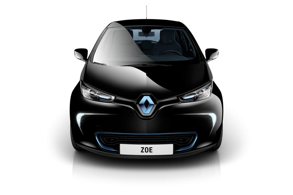 photo l 39 avant de la renault zoe en gris neptune. Black Bedroom Furniture Sets. Home Design Ideas
