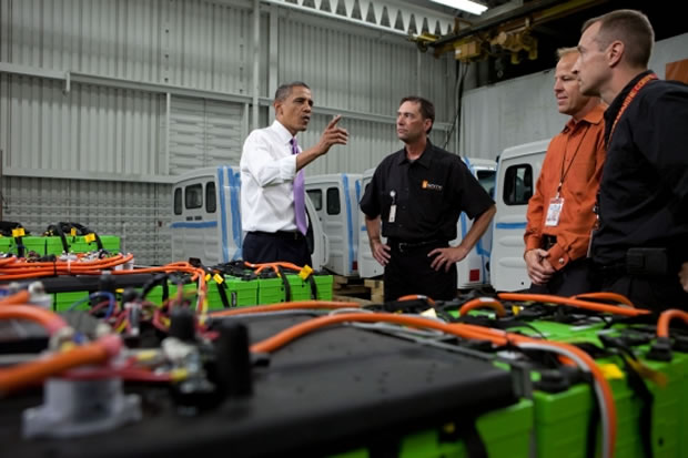 Barack Obama en visite chez Smith Electric Vehicles.