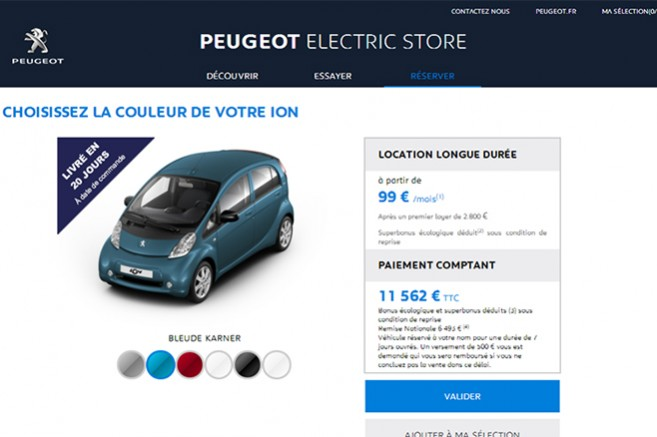 peugeot electric store un site pour r server sa voiture lectrique en ligne. Black Bedroom Furniture Sets. Home Design Ideas