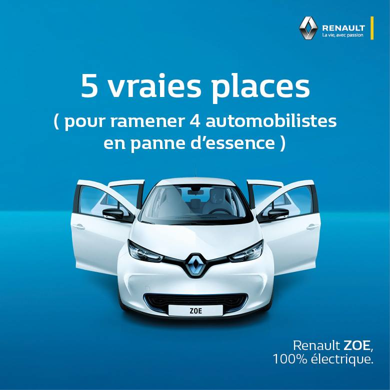 face la p nurie de carburant renault joue la carte de l humour. Black Bedroom Furniture Sets. Home Design Ideas