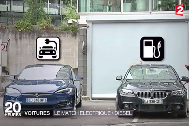 electrique vs diesel quand tesla s invite au jt de france 2. Black Bedroom Furniture Sets. Home Design Ideas