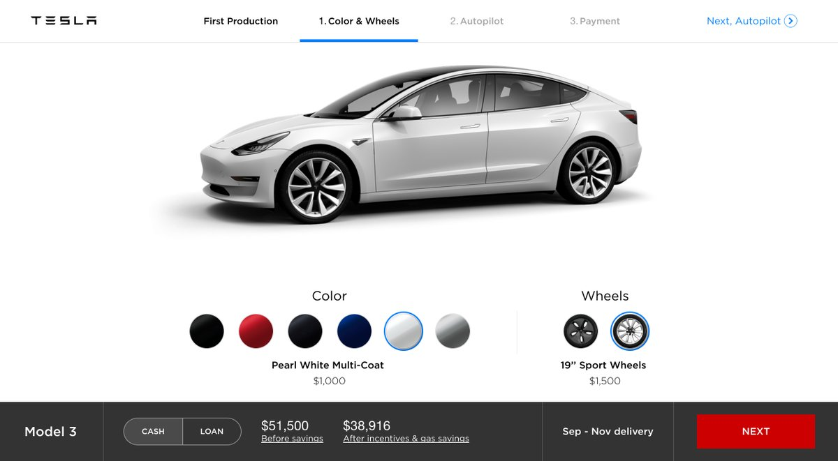 tesla model 3 premier aper u du configurateur en ligne. Black Bedroom Furniture Sets. Home Design Ideas